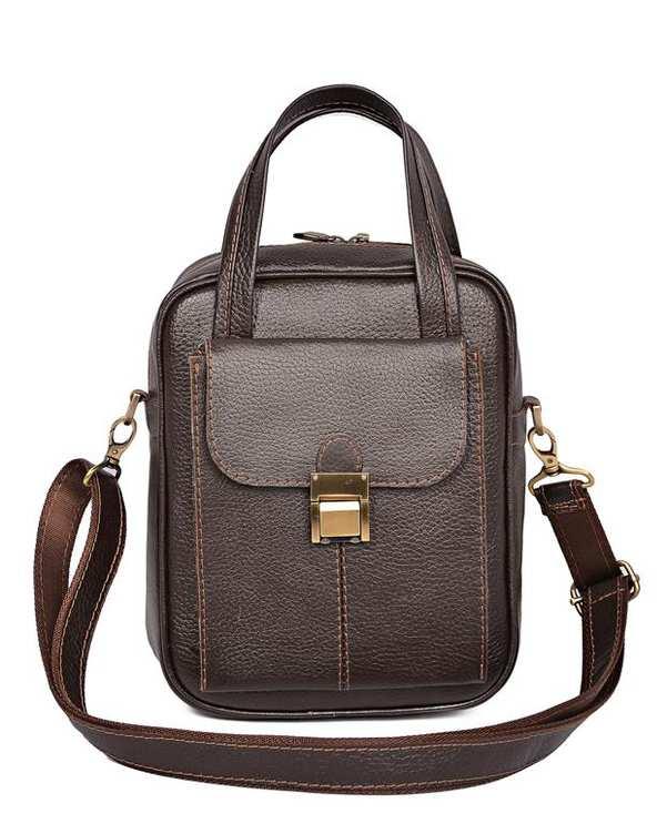 کیف چرم زنانه مدل بامداد قهوهای تیره Python