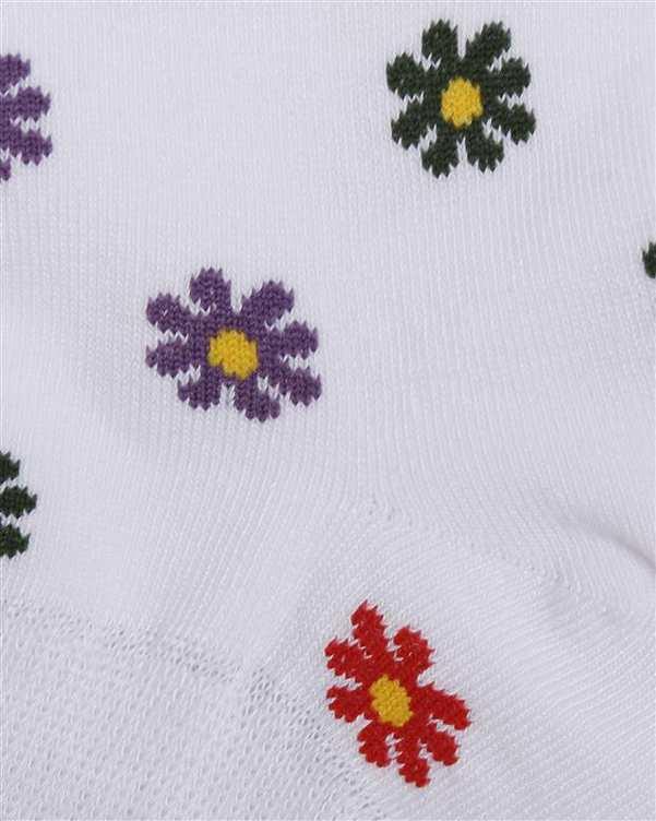 جوراب زنانه مچی نانو آنتی باکتریال سفید گلدار هاینو