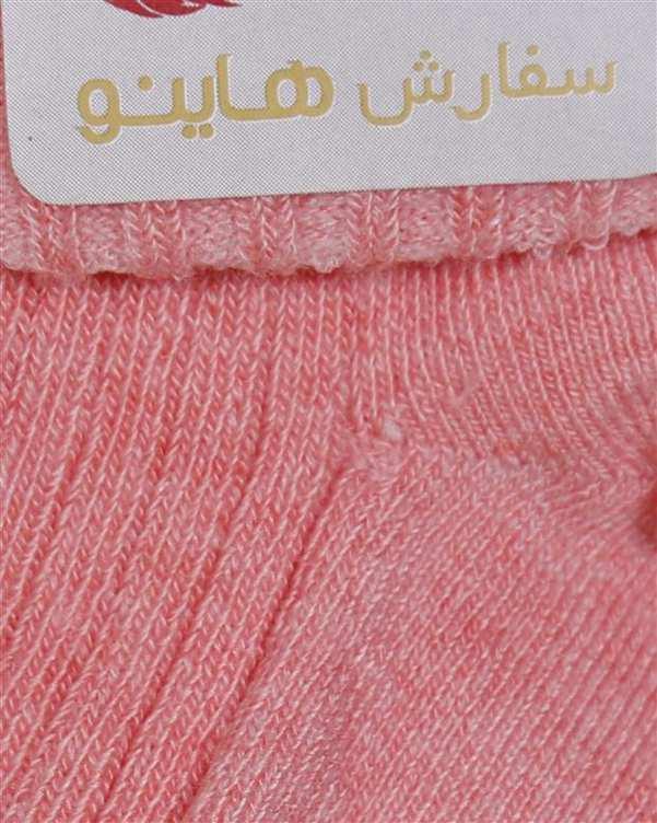 جوراب نوزادی دخترانه ساق دار آنتی باکتریال صورتی هاینو