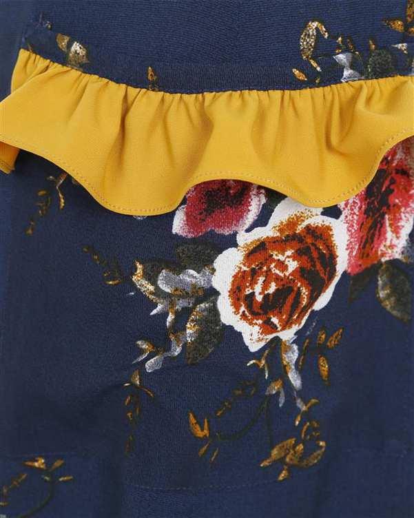 پیراهن زنانه کرپ سرمه ای زرشکی گلدار ریرا RIRA