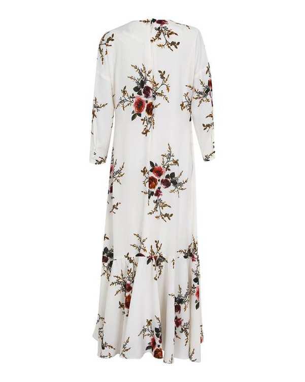 پیراهن زنانه کرپ شیری گلدار ریرا RIRA