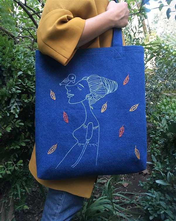 توت بگ طرح پاییز آبی آرنگ و یاسمین