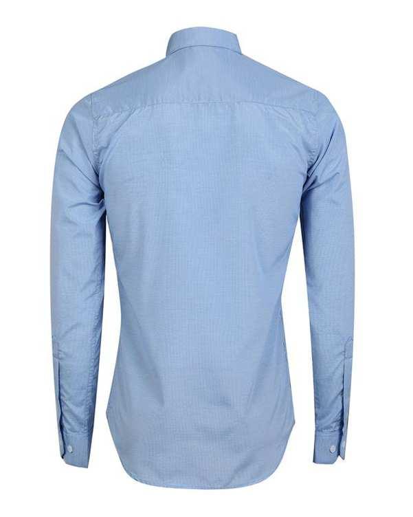 پیراهن مردانه آبی روشن چهارخانه ریز تیدا