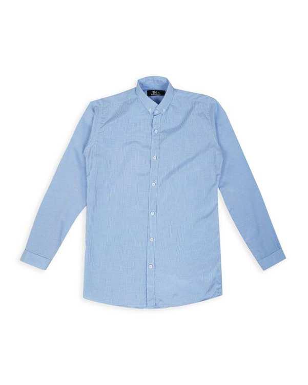 پیراهن پسرانه آبی روشن چهارخانه ریز تیدا