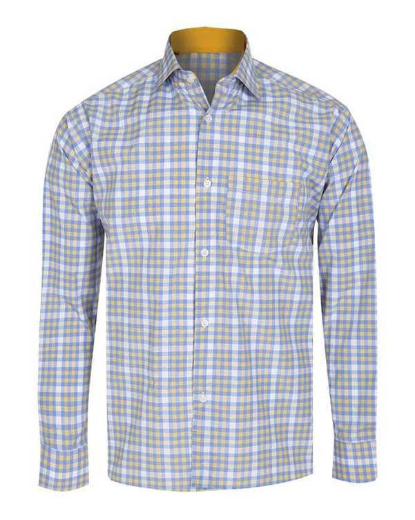 پیراهن پسرانه آبی پرتقالی چهارخانه تیدا