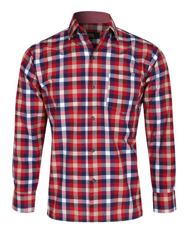 پیراهن پسرانه قرمز سرمهای چهارخانه تیدا