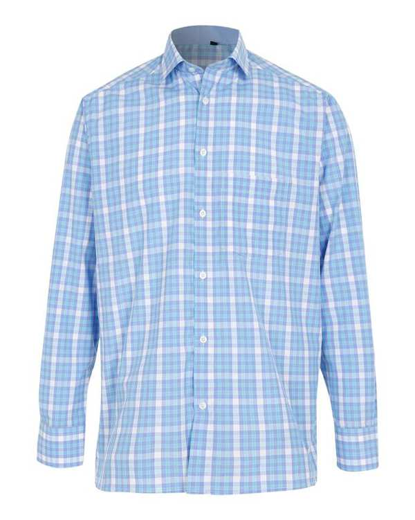 پیراهن پسرانه آبی چهارخانه تیدا