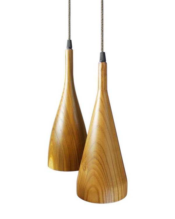 چراغ آویز چوبی با لامپ Sorna 1 انگاره