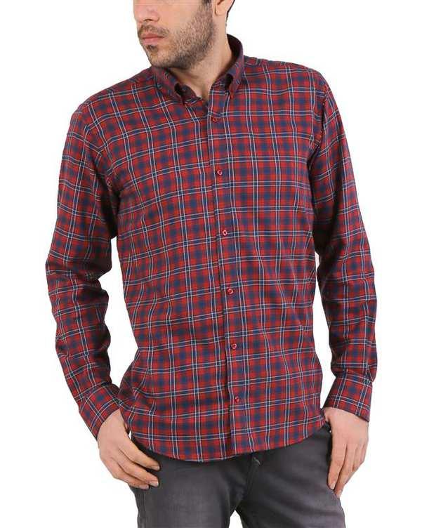 پیراهن مردانه نخی زرشکی سرمه ای چهارخانه Cera Alba