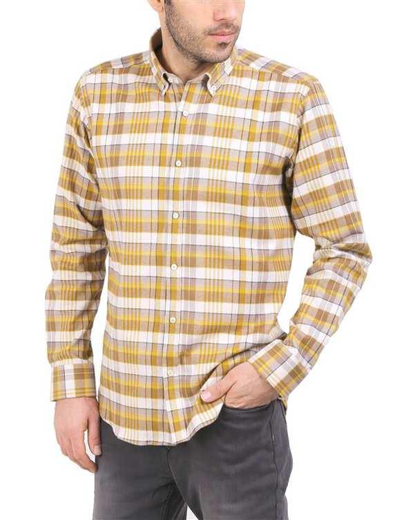 پیراهن مردانه نخی خردلی سفید چهارخانه Cera Alba