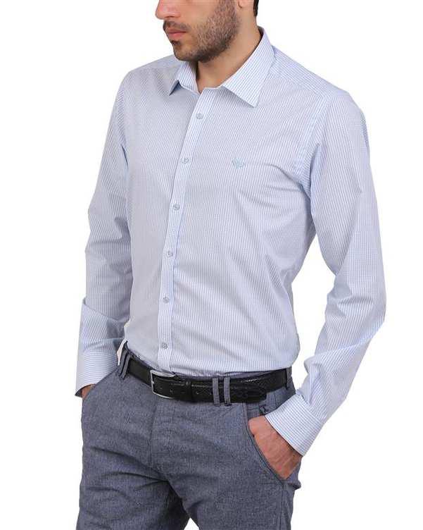 پیراهن مردانه نخی آبی روشن چهارخانه Cera Alba