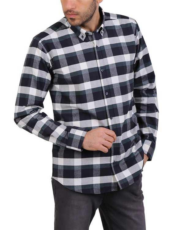 پیراهن مردانه نخی سرمه ای سفید چهارخانه Cera Alba
