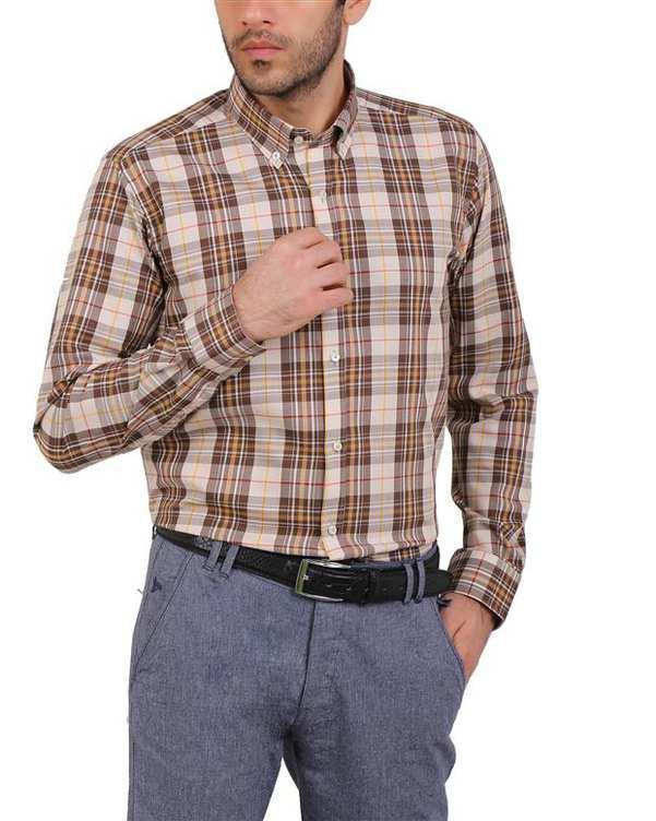 پیراهن مردانه نخی کرم قهوه ای چهارخانه Cera Alba