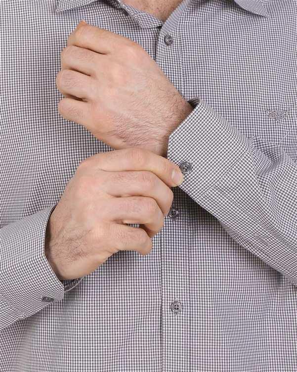 پیراهن مردانه نخی قهوه ای سفید چهارخانه Cera Alba