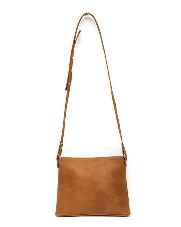 کیف چرم زنانه دوشی عسلی Amahi