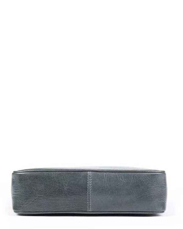 کیف چرم زنانه دستی خاکستری آبی Amahi