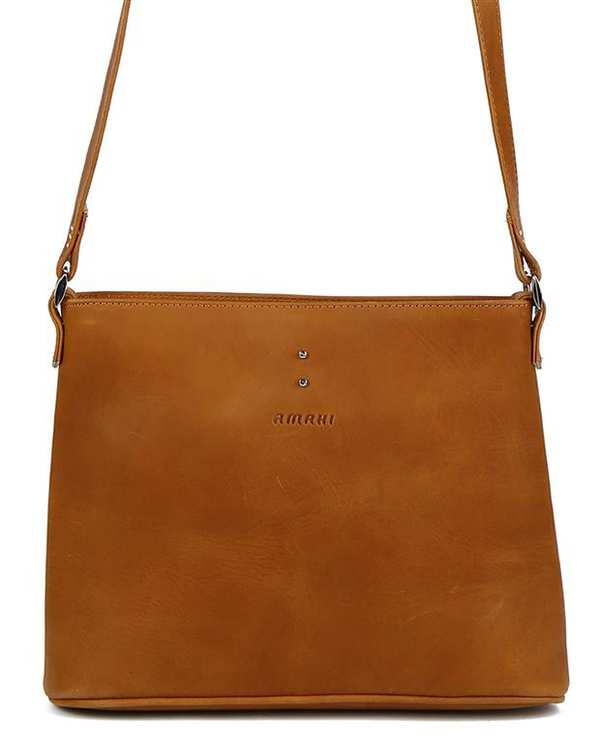 کیف چرم زنانه دوشی شتری Amahi