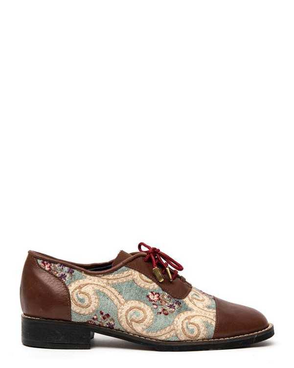 کفش چرم زنانه طرح سنتی قهوه ای سبز Amahi