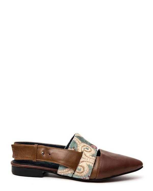 کفش چرم زنانه طرح سنتی قهوهای سبز Amahi