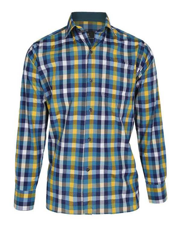 پیراهن پسرانه سبز زرد چهارخانه تیدا