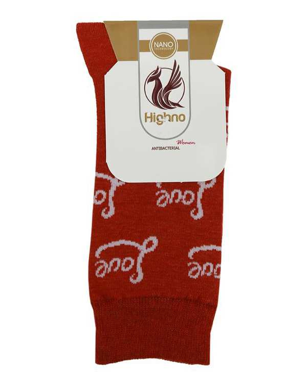 جوراب زنانه نانو آنتی باکتریال سفید قرمز هاینو