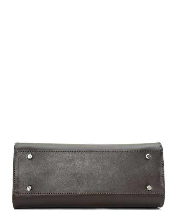 کیف چرم زنانه دستی قهوه ای تیره Mohami