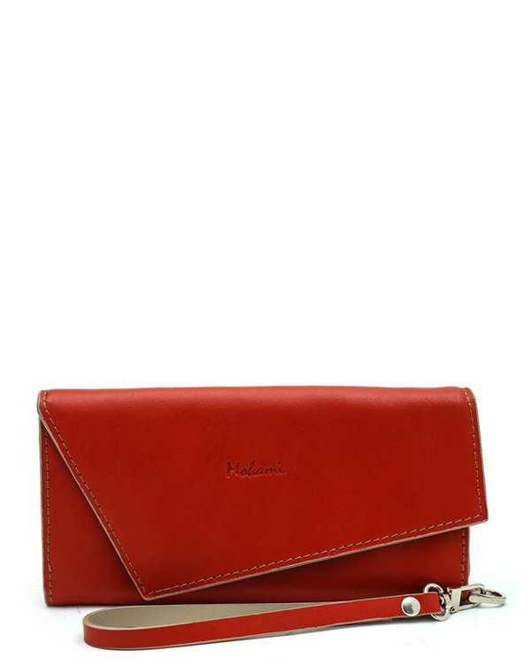 کیف پول چرم زنانه قرمز Mohami