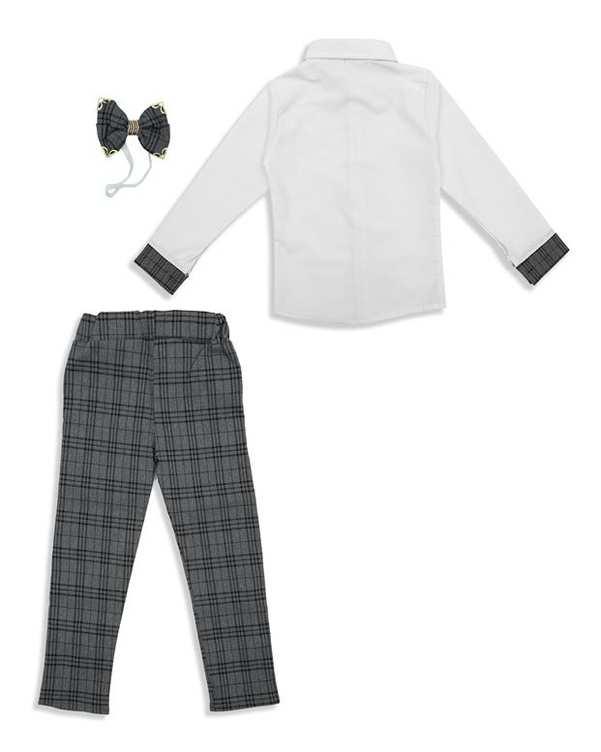 ست پیراهن و شلوار پسرانه سفید طوسی چهارخانه For Baby