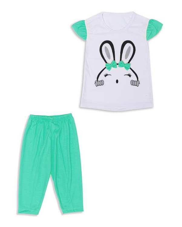 ست تی شرت و شلوارک دخترانه سفید سبز For Baby