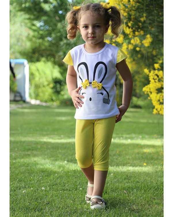 ست تی شرت و شلوارک دخترانه سفید زرد For Baby