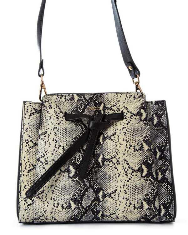 کیف چرم زنانه دوشی مشکی شیری پوست ماری اورِز