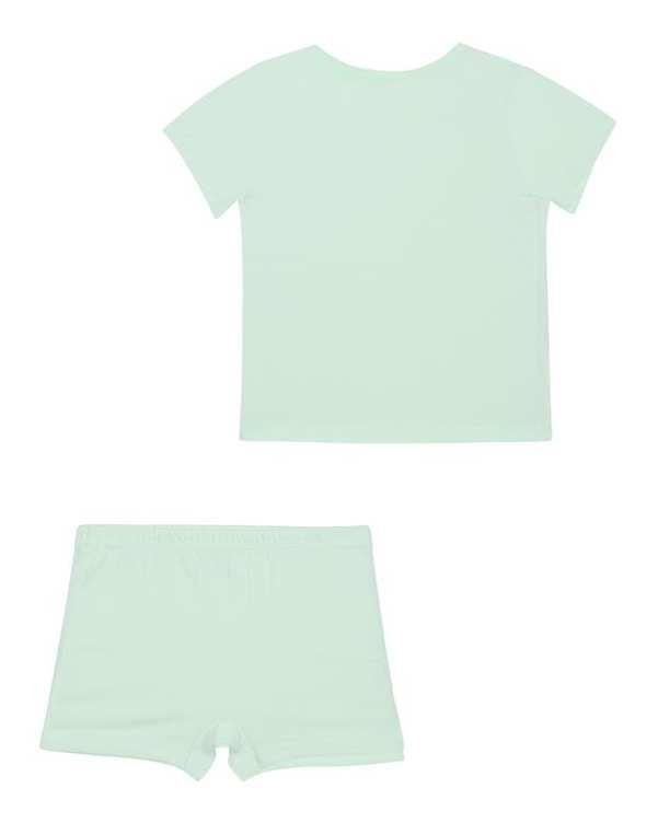 ست تی شرت و شورت پسرانه نخی سبز فیروزه ای تانیش