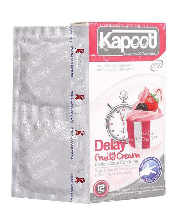 کاندوم تاخیری مدل Delay Fruity Cream کاپوت بسته 12 عددی