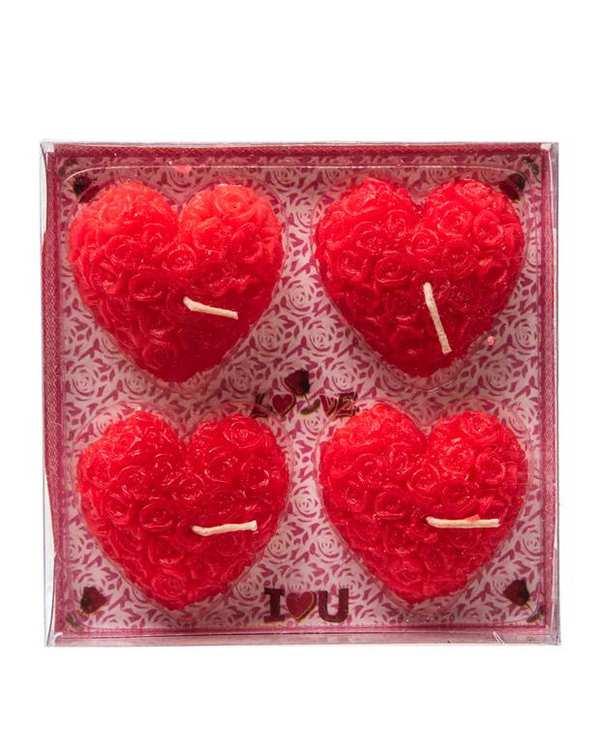 بسته 4 عددی شمع قلبی قرمز