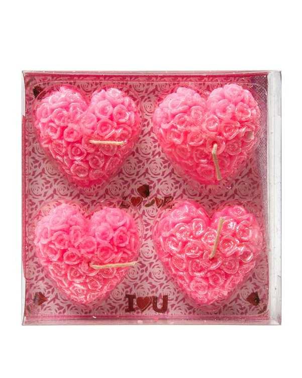 بسته 4 عددی شمع قلبی صورتی