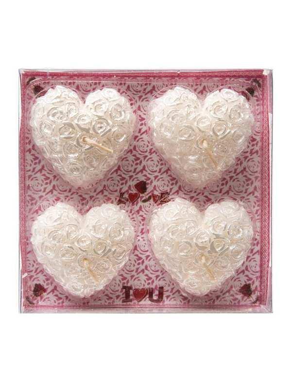 بسته 4 عددی شمع قلبی سفید