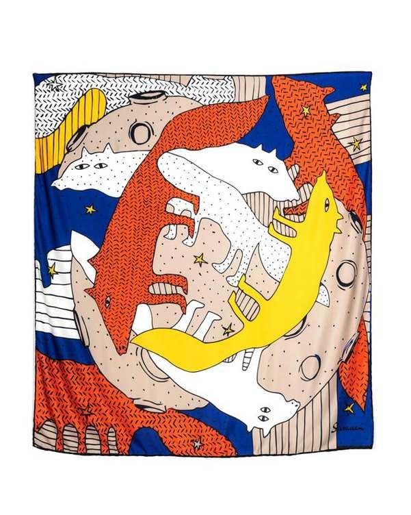 روسری زنانه دست دوز کج راه طرح شازده کوچولو و روباه شیوانا