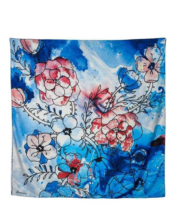 روسری زنانه دست دوز کج راه رنگی طرح گل آبی و قرمز شیوانا