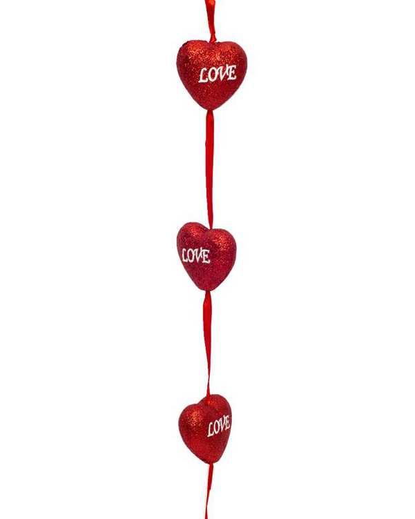 ریسه تزئینی 1.5 متری 12 عددی قلب قرمز اکلیلی