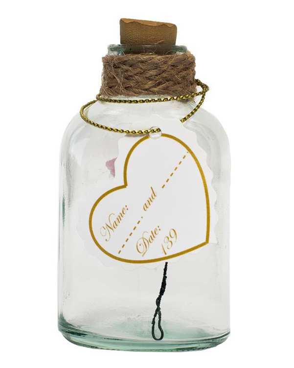 بطری هدیه شیشه ای گل دار