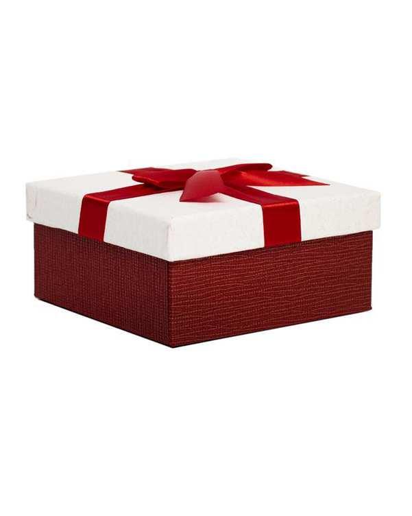 جعبه کادویی سفید قرمز پاپیون دار کوچک