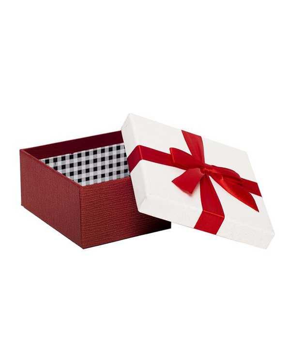 جعبه کادویی سفید قرمز پاپیون دار متوسط