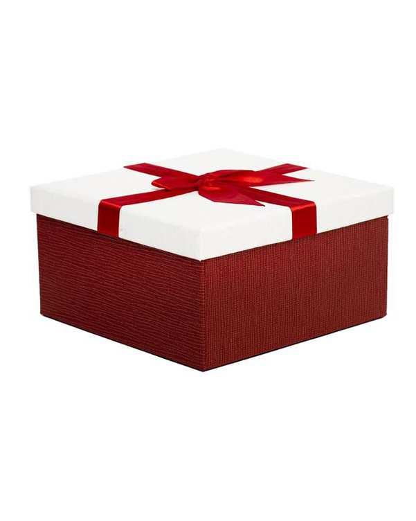 جعبه کادویی سفید قرمز پاپیون دار بزرگ