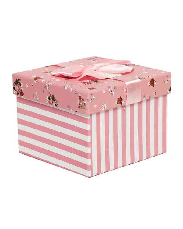 جعبه کادویی صورتی گلدار متوسط
