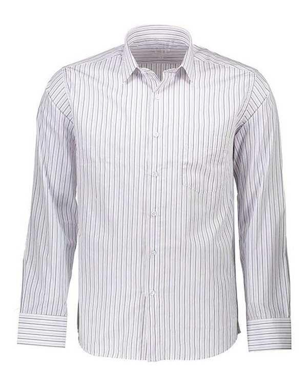 پیراهن مردانه مدل VIP08WH سفید راه راه ناوالس