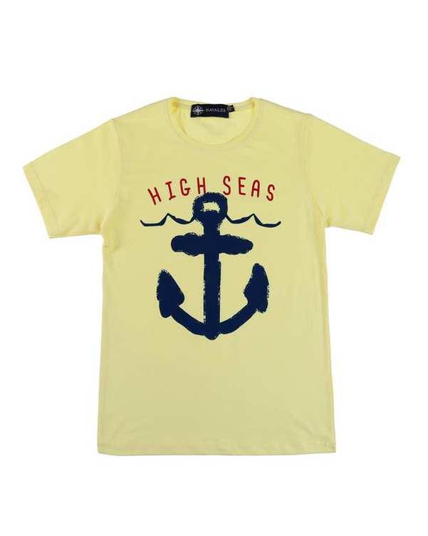 تی شرت بچگانه کد HighSea-02-YL لیمویی ناوالس