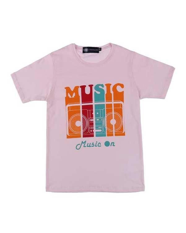 تی شرت بچگانه کد MUSIC-01-LPK صورتی ناوالس