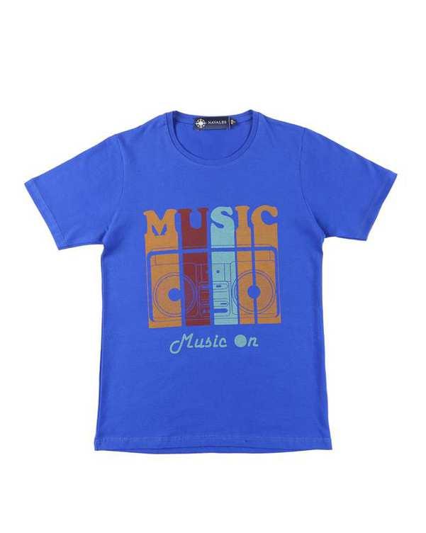 تی شرت بچگانه کد MUSIC-01-BL آبی کاربنی ناوالس