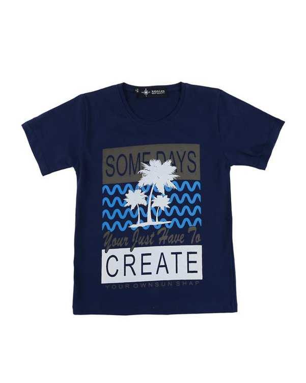 تی شرت بچگانه کد CREATE-02-NV سرمه ای ناوالس