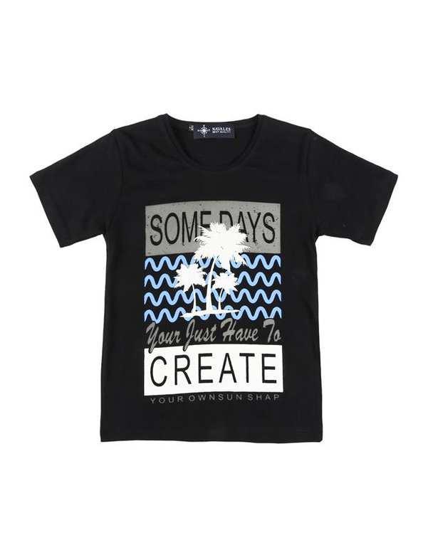 تی شرت بچگانه کد CREATE-02-BK مشکی ناوالس